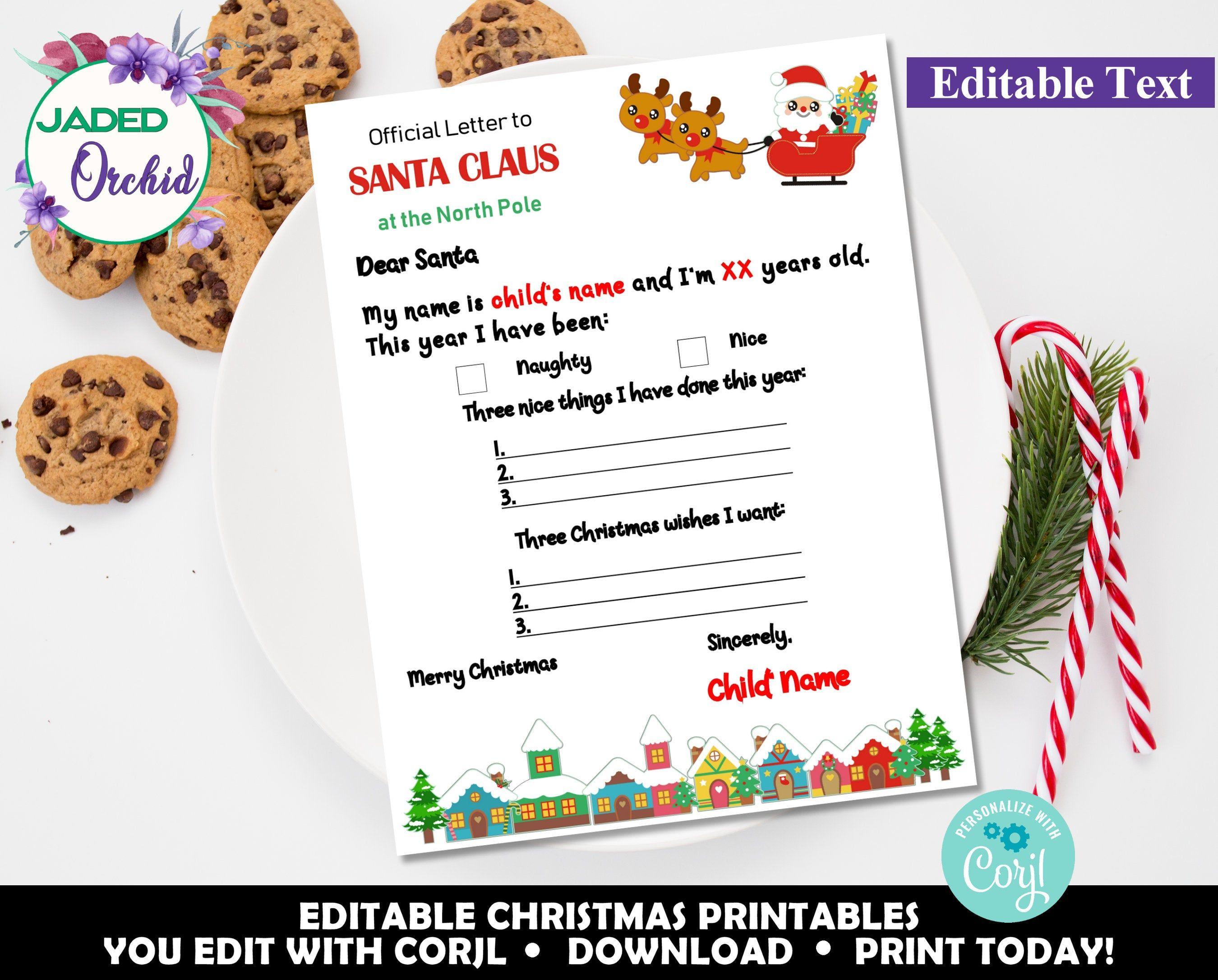 Personalized Dear Santa Letter, Kids Santa Letter, Letter