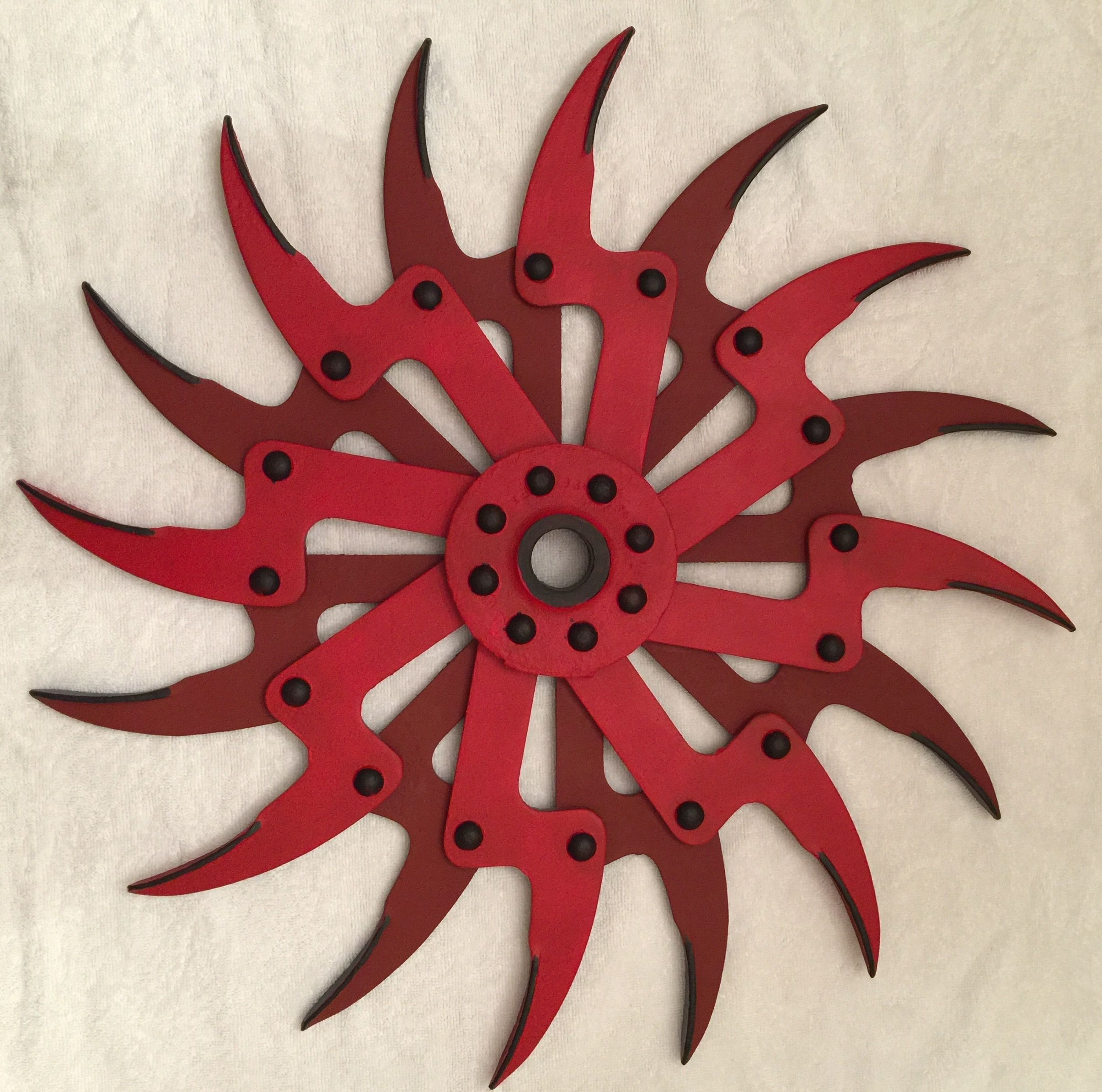 Hand Painted Rotary Hoe Tiller Wheel by Dennis R. Robinson