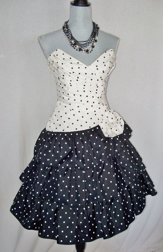 Vintage Black \u0026 White Polka Dot 80s