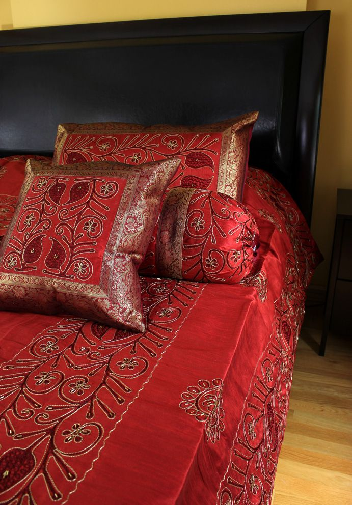 Wonderful Gorgeous Saffron Red Ornamental Embroidered 7 Piece #Duvet Cover Set.  Beautiful Floral Design