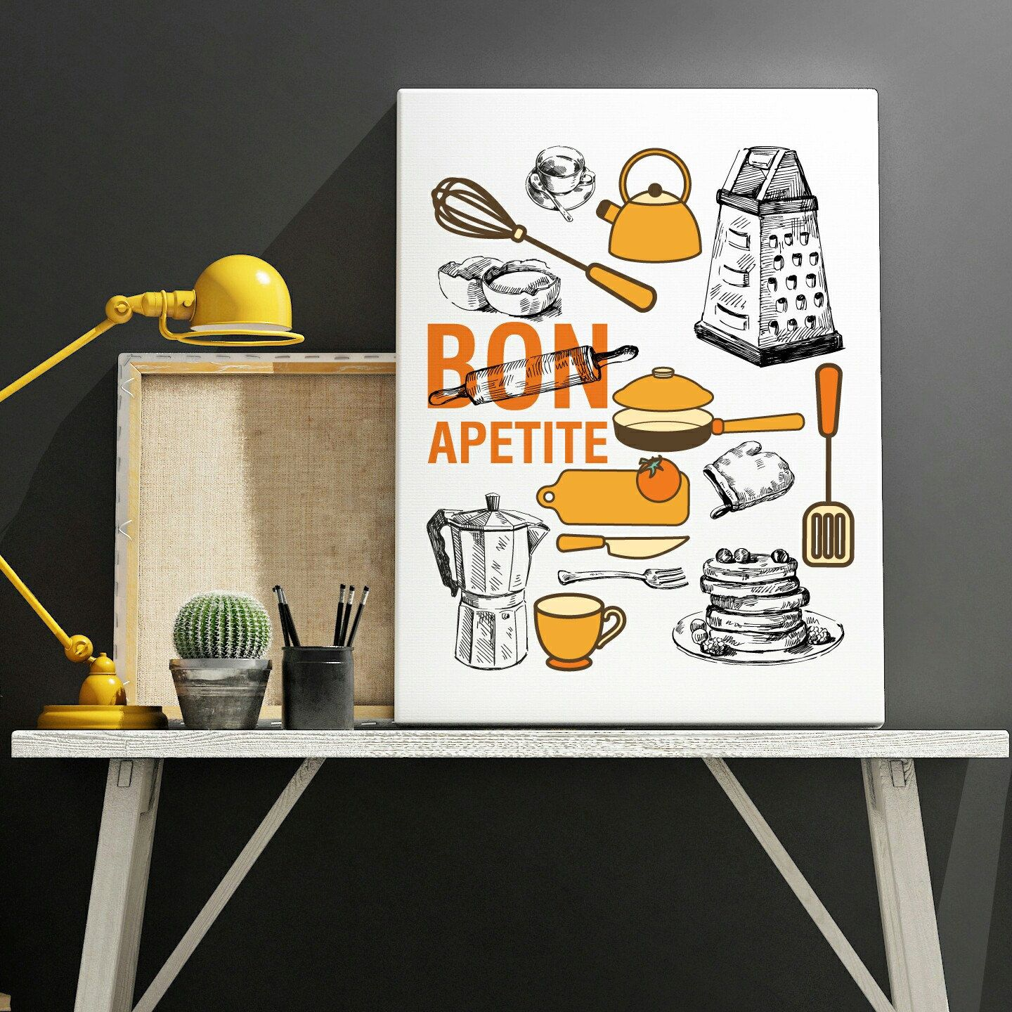 Yellow And Black Kitchen Decor Orange And Hand Drawn Kitchen Decor Poster Posters Prints Wall