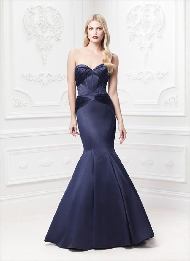 Truly Zac Posen long strapless satin fit and flare gown - saved by ...
