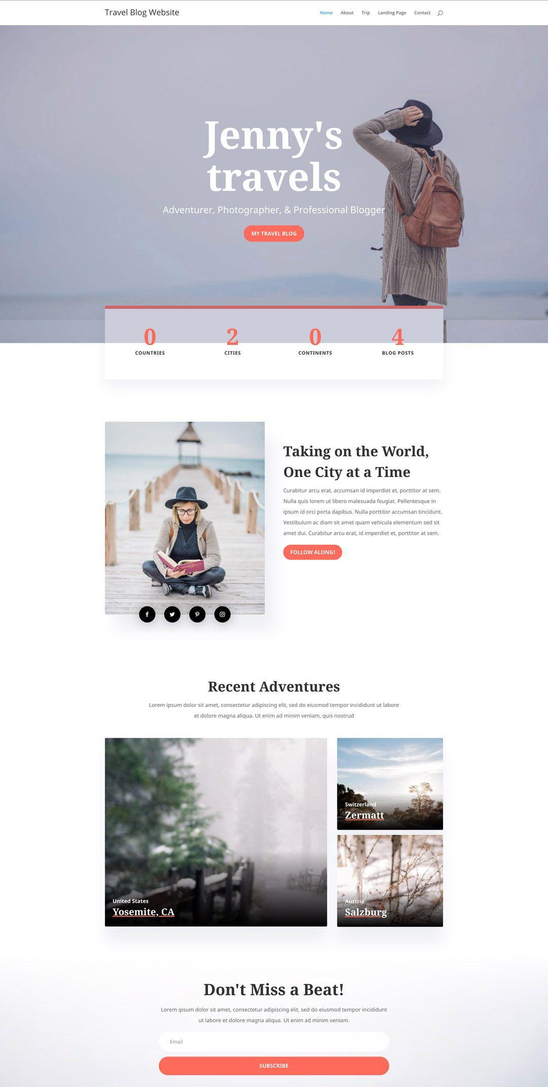 Travel Blogger Website Design Layouts Travel Website Design Travel Blog Design Website Design Layout