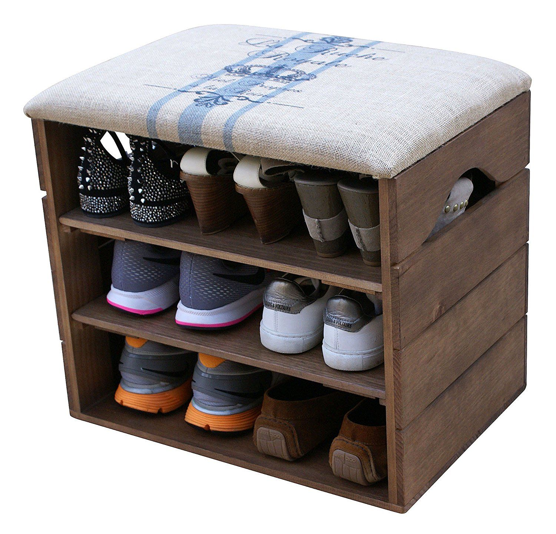 LIZA LINE SHOE RACK (Walnut Brown)   Premium Wooden Shoes Organizer, Storage,  Cabinet, Holder Bench With Soft Seat Cushion For Entryway, Hallway.