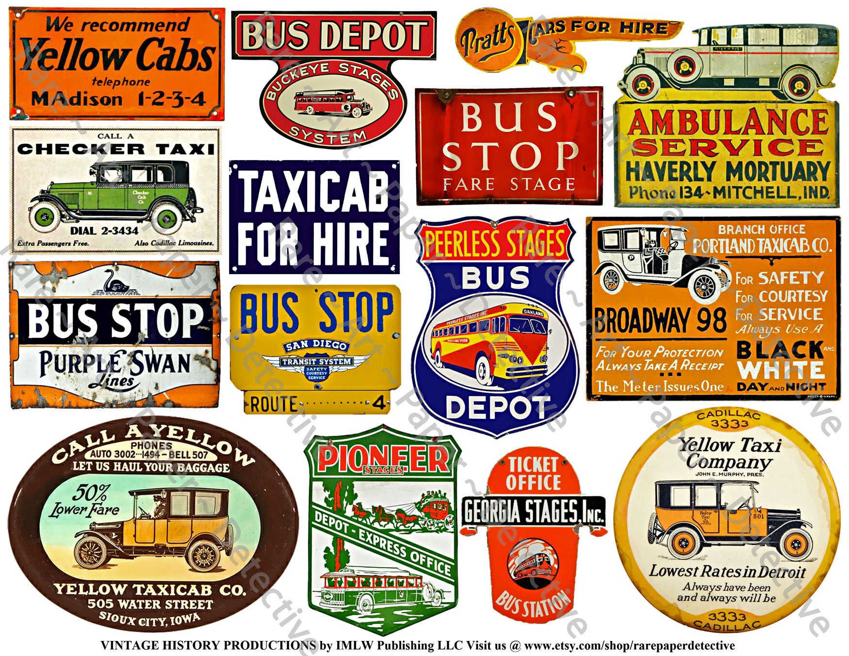 Bus Depot Taxi Cab Signs Printed Sheet Vintage Motor Coach