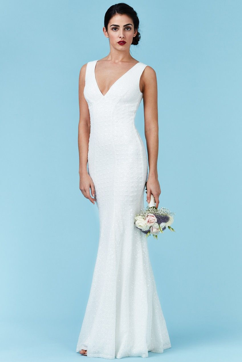 Sequin Low V Neck Maxi Wedding Dress White Front Dr254w