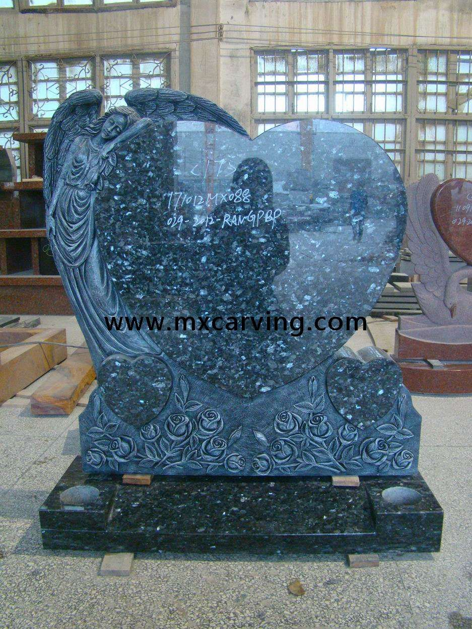 Angel With Heart Headstone 福建惠安明翔石业 Granite Headstones Blue Pearl Granite Headstones