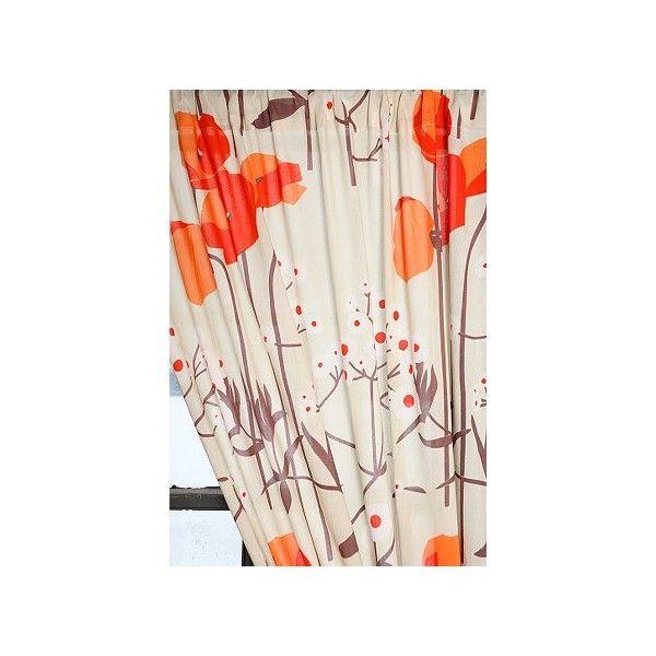 Asian poppy curtains