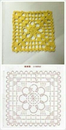 Patterns and motifs: Crocheted motif no. 1657 #grannysquares