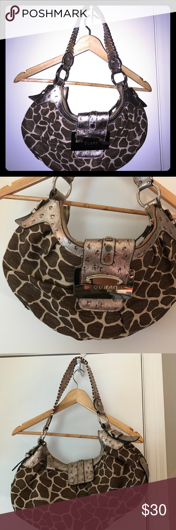 "Giraffe print purse Great condition giraffe print purse. This was one of my favorites and it's almost 20 years old. The leather has gotten lighter on the handle and that's it. 14"" handle drop. 14"" by 7"" Guess Bags Shoulder Bags"