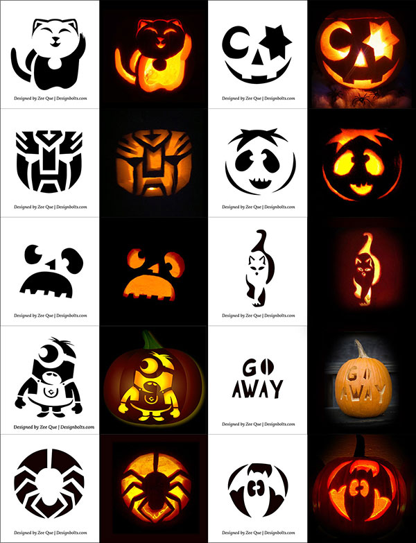 290+ Free Printable Halloween Pumpkin Carving Stencils, Patterns, Designs, Faces & Ideas #pumpkincarvingstencils
