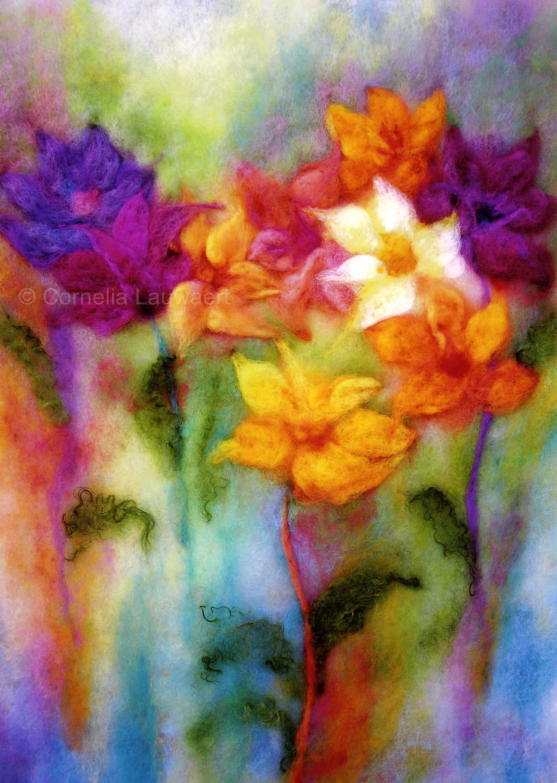 Wollbild Blumen farbtraeume.me