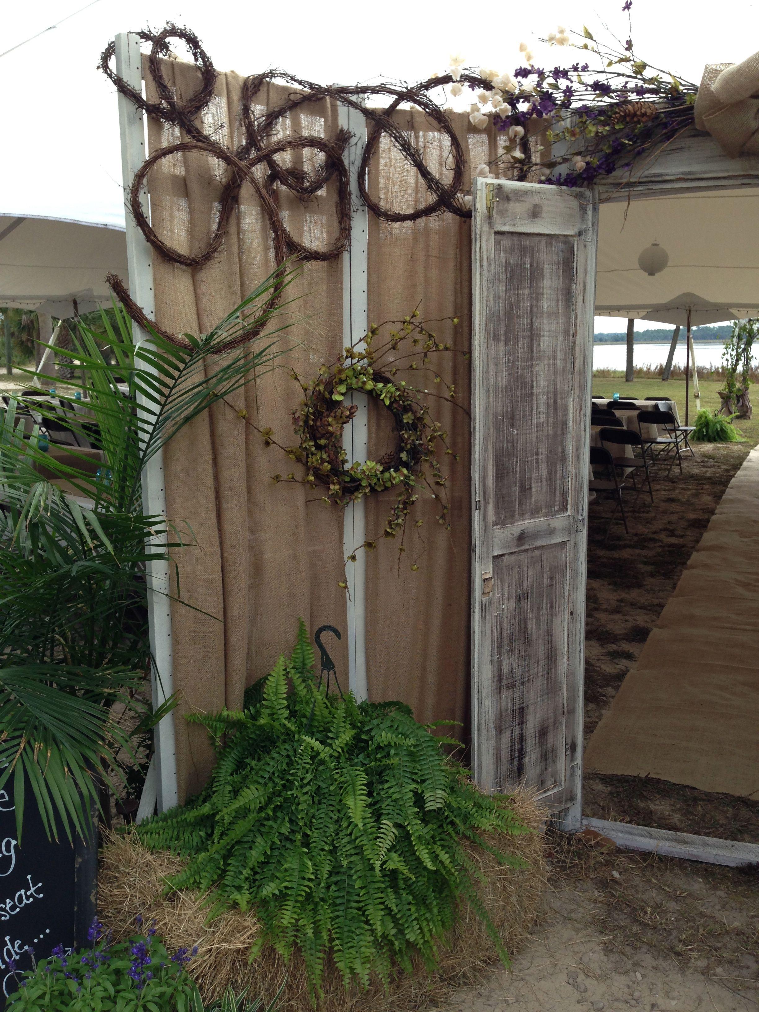 Rustic Outdoor Wedding Door Bride Reveal | Rustic Couple's ...