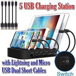 5 usb charging station lightning micro usb dual short cables for