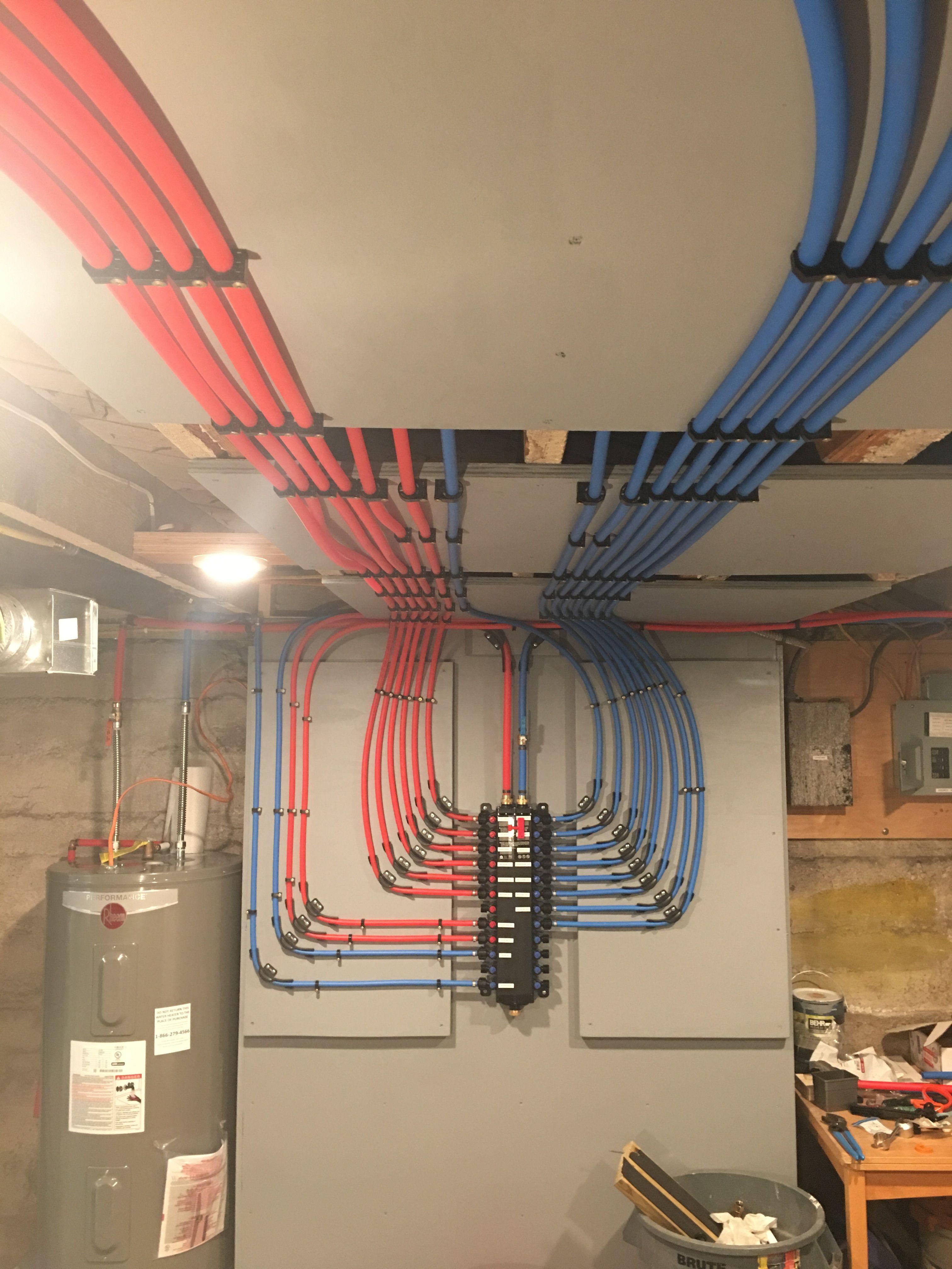 Pex With Manabloc Manifold In 2020 Pex Plumbing Heating And Plumbing Diy Plumbing
