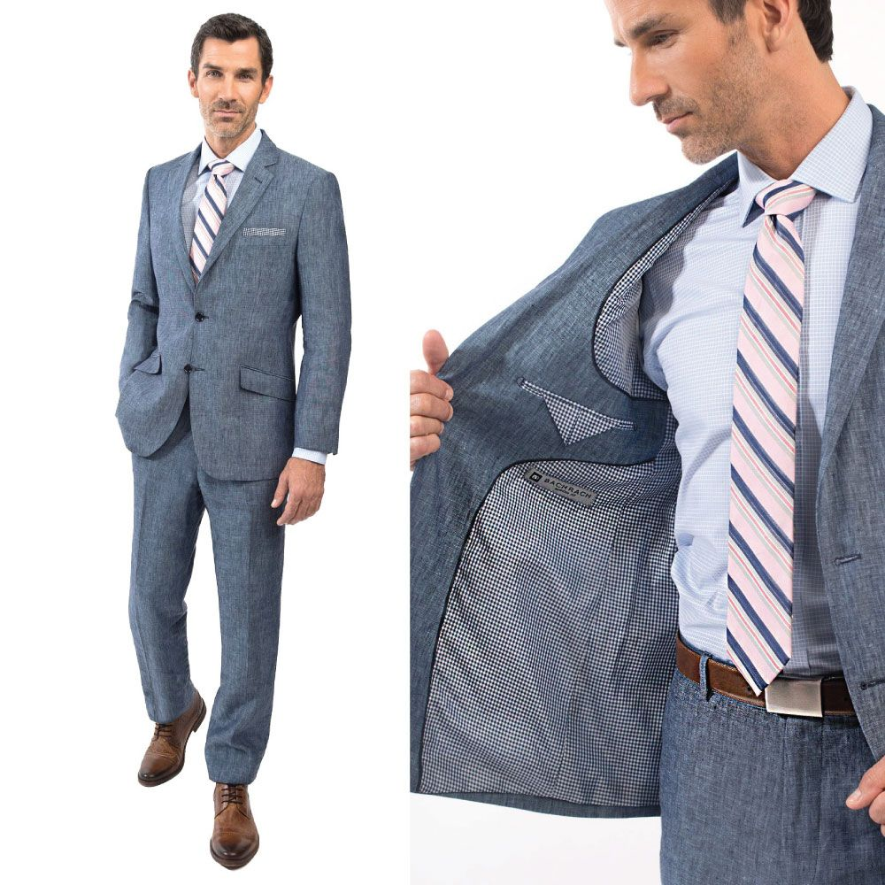 Linen suit for summer weather. Blue is a very versatile color ...