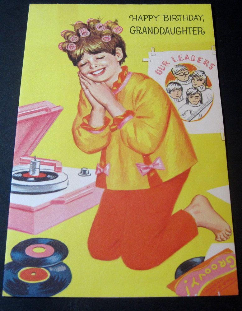 Vintage Birthday Card Teen Girl Listening To Her Favourite Record