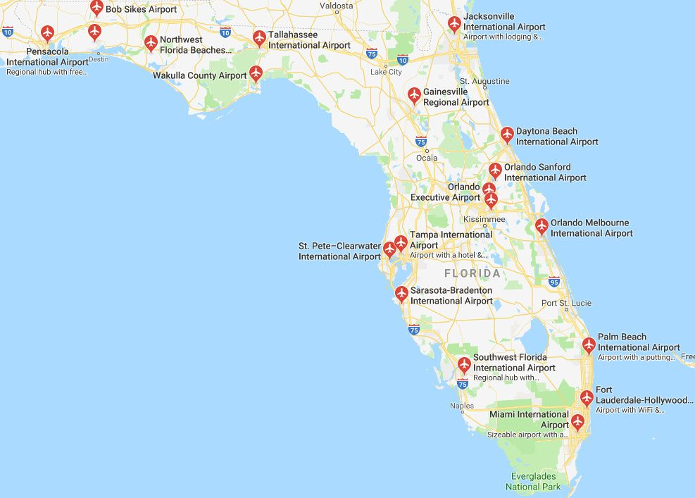 florida map with airports Map Of Florida Airports Orlando Sanford International Airport florida map with airports