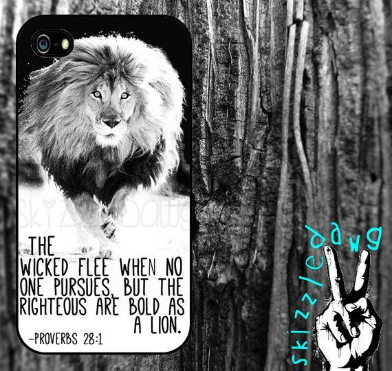 Lion Quote Bible Verse Apple iPhone 4/4S and 5 Case by