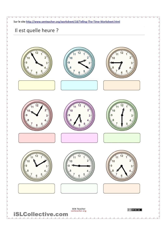 L'heure | L'heure, Apprendre l heure, Fiches pédagogiques