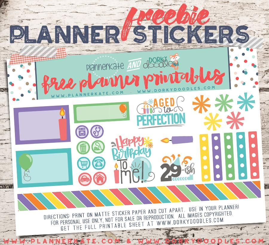 Free Printable Birthday Planner Stickers from Dorky Doodles