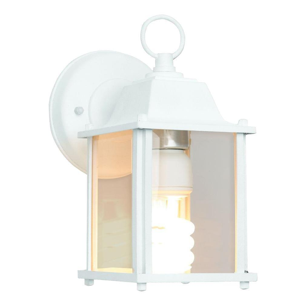 Newport Coastal 13 Watt White Cfl Square Wall Lantern Sconce With Bulb 7974 01w Wall Lantern Porch Lighting Sconces