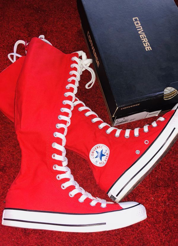 red knee high converse - 59% OFF