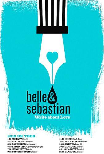 Belle & Sebastian hand silkscreened UK Tour poster.