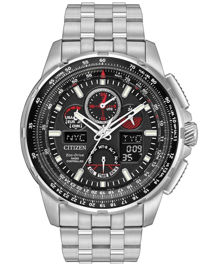 Citizen Men's Analog-Digital Chronograph Skyhawk A-t Stainless Steel Bracelet Watch 47mm JY8050-51E