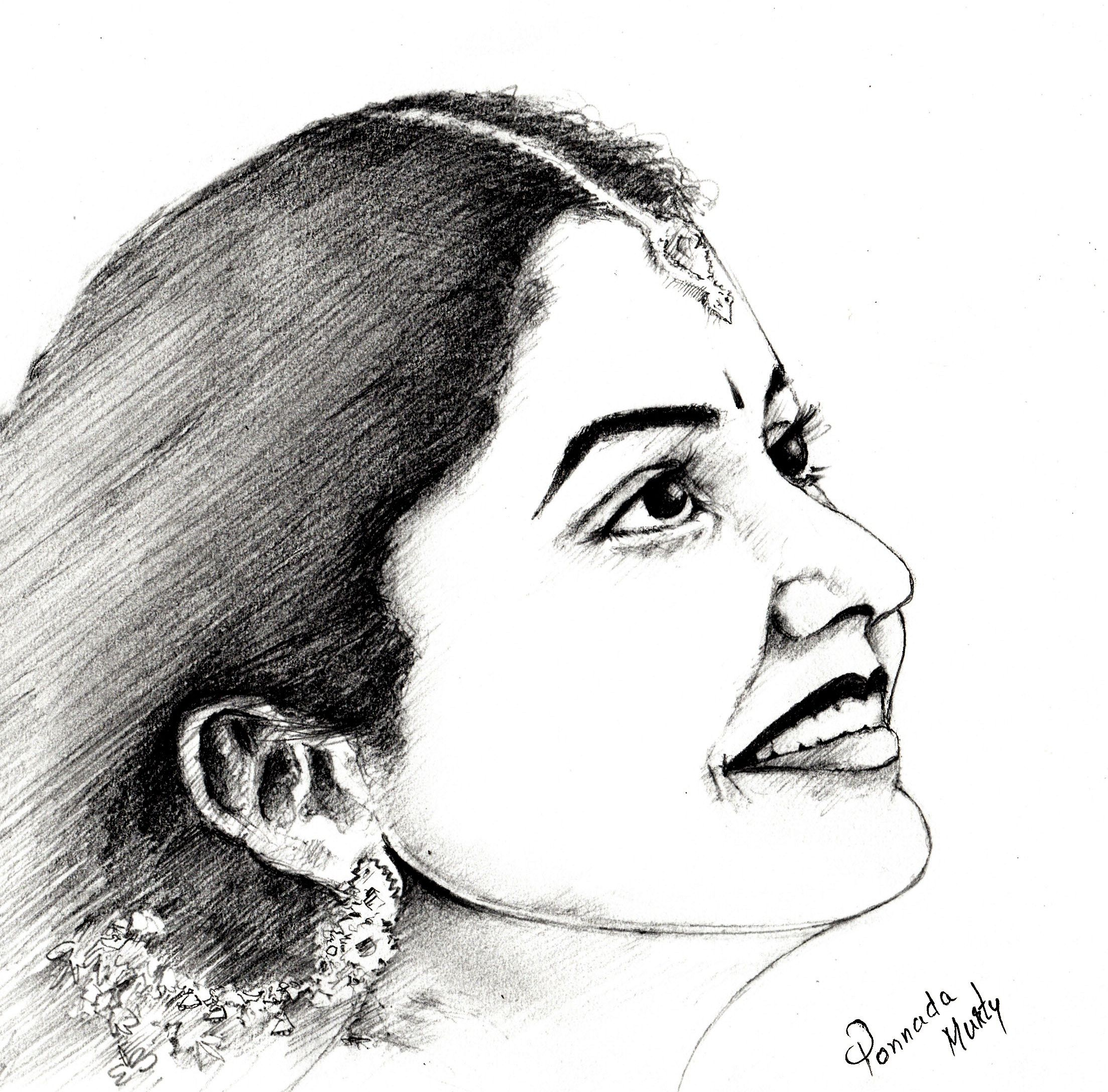 Pencil sketch of a traditional indian girl
