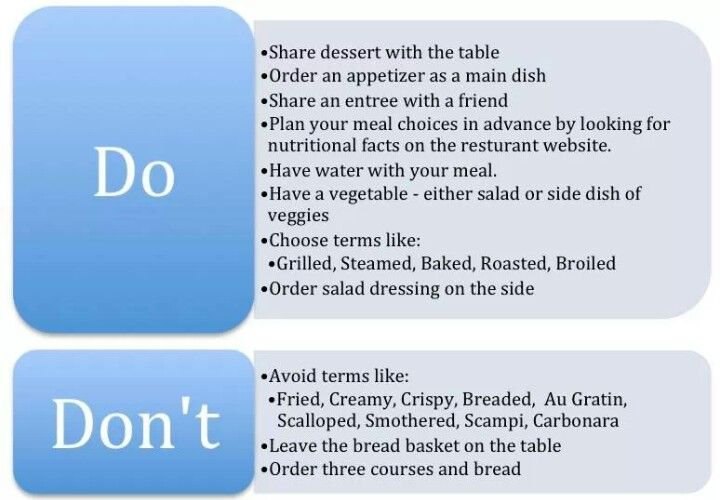 Tips for when you are eating out