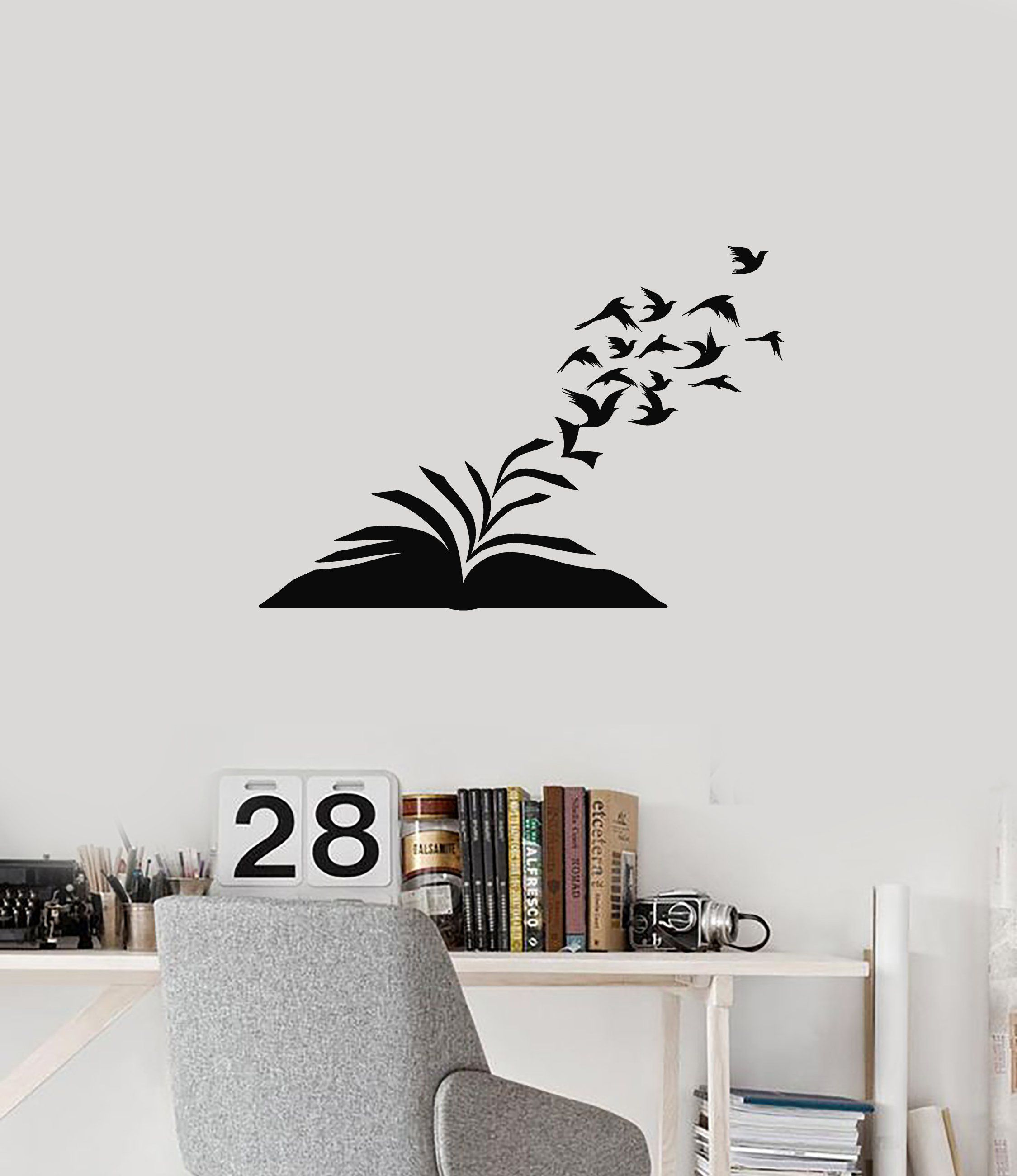 Vinyl Wall Decal Open Book Birds Library Reading Corner Room
