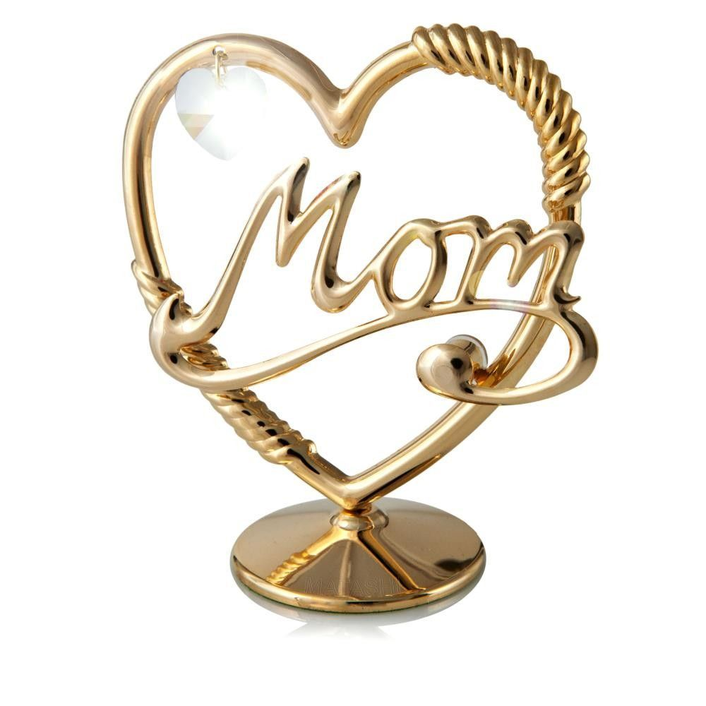 Decorative 24K Gold Plated Crystal Studded Mom In A Heart Ornament