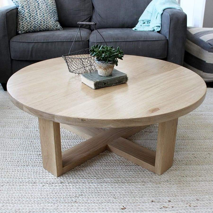 Round All Wood White Oak Coffee Table Modern Solid Wood White