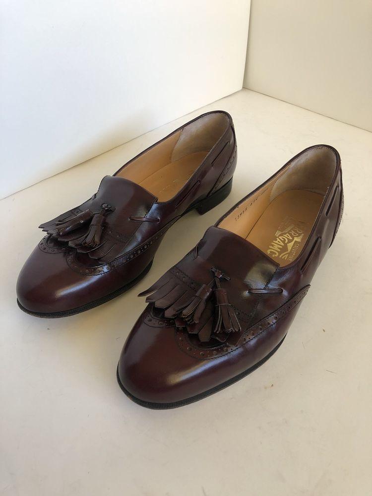 4c26134694f Salvatore Ferragamo Kiltie Tassel Loafers Burgundy Red Men Leather 10.5D  Wingtip  fashion  clothing