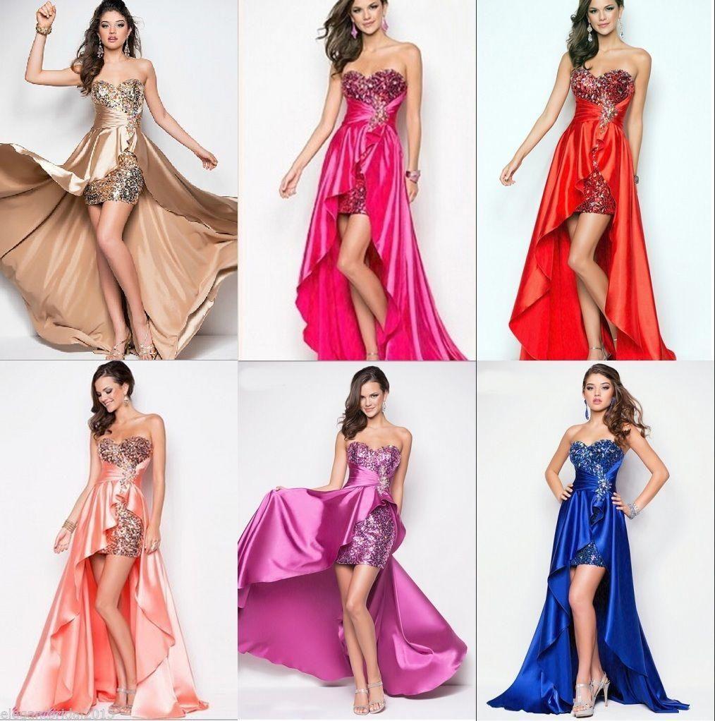 Long Prom Dresses Royal Blue Strapless Sequined Satin Hi Low Split ...