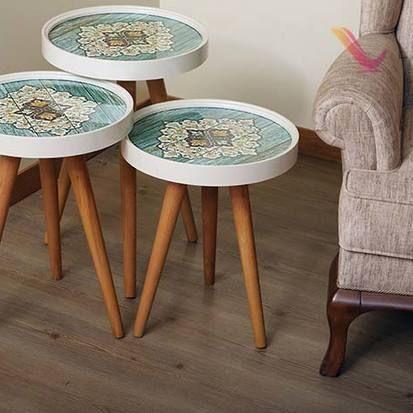 Fancy set of three tables. Turquoise mandala design. Set of 3 coffee ...