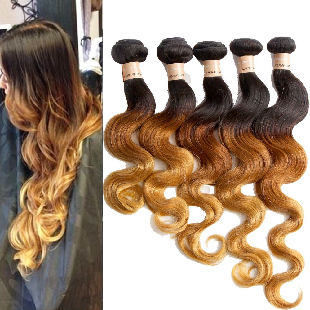3 Tone Ombre Brazilian 100 Human Hair Extension Body Wave Hair Weft