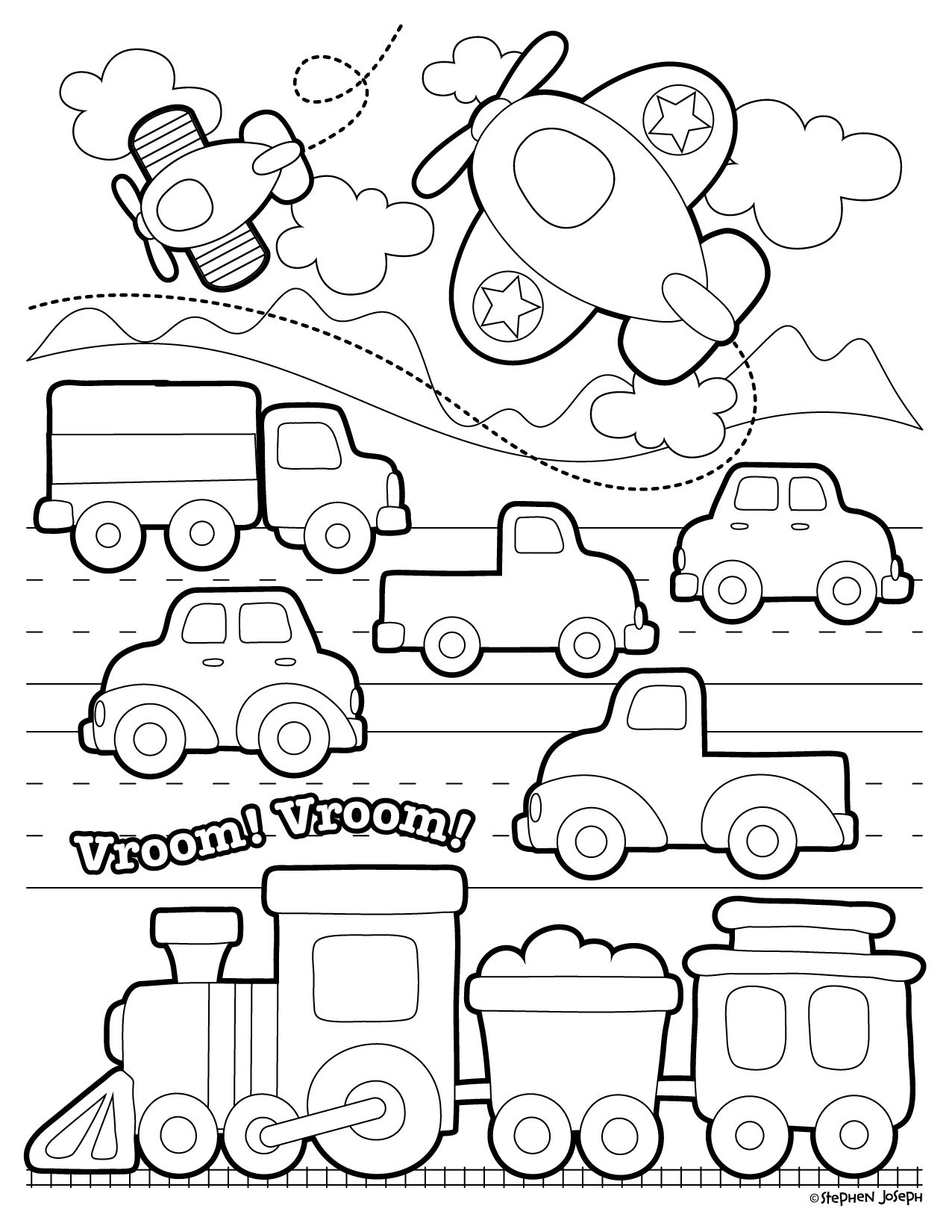 Transportation Coloring Page Printable Free By Stephen Joseph