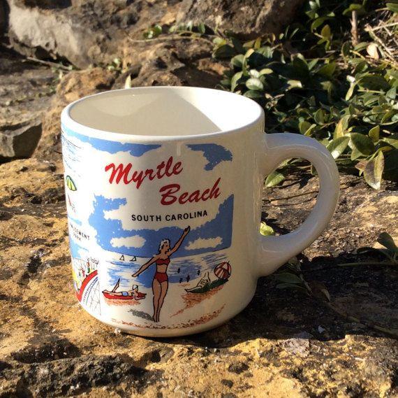 Vintage Myrtle Beach Souvenir Coffe Mug Usa By Yellowhousedecor Myrtle Beach Beach Souvenirs Cottage Chic