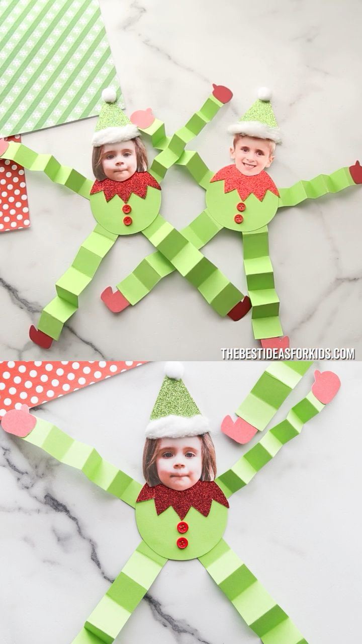 Elf Craft for Kids  - cute paper elf craft kids can make for Christmas! Would also make an adorable Christmas bulletin board idea.