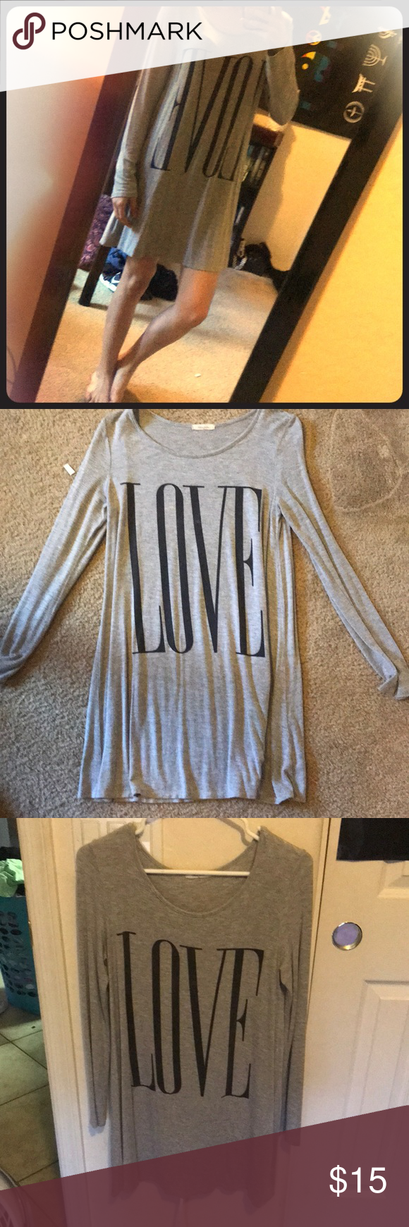 Grey love long sleeve tshirt dress my posh closet pinterest