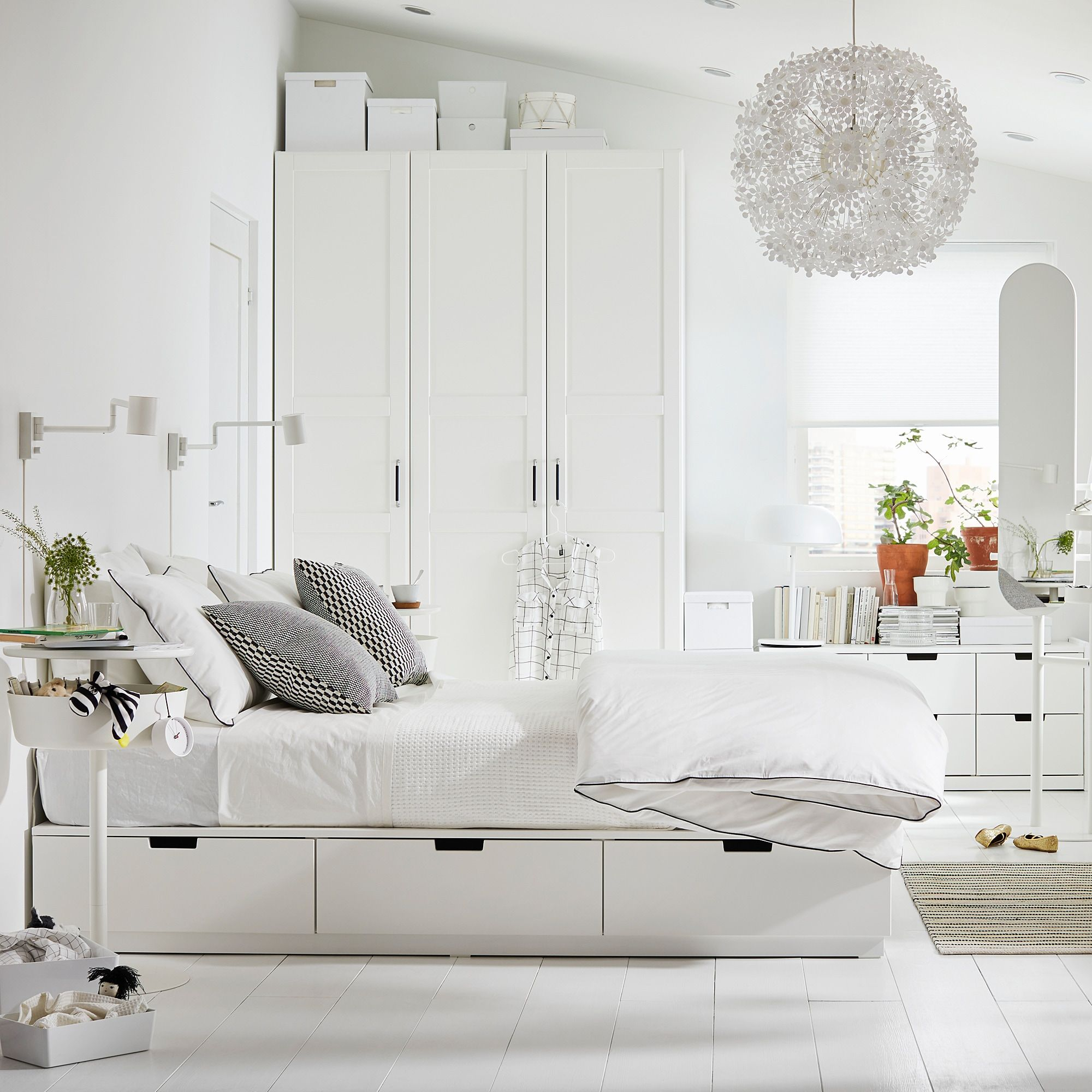 NORDLI Bed frame with storage, white, King IKEA in 2020