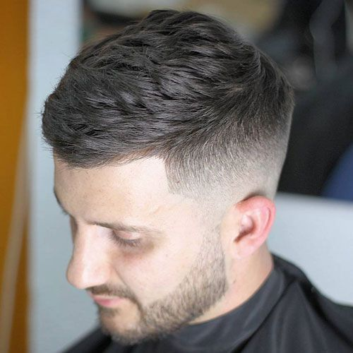 Textured Side Swept Hair With High Fade Mens Hairstyles Short