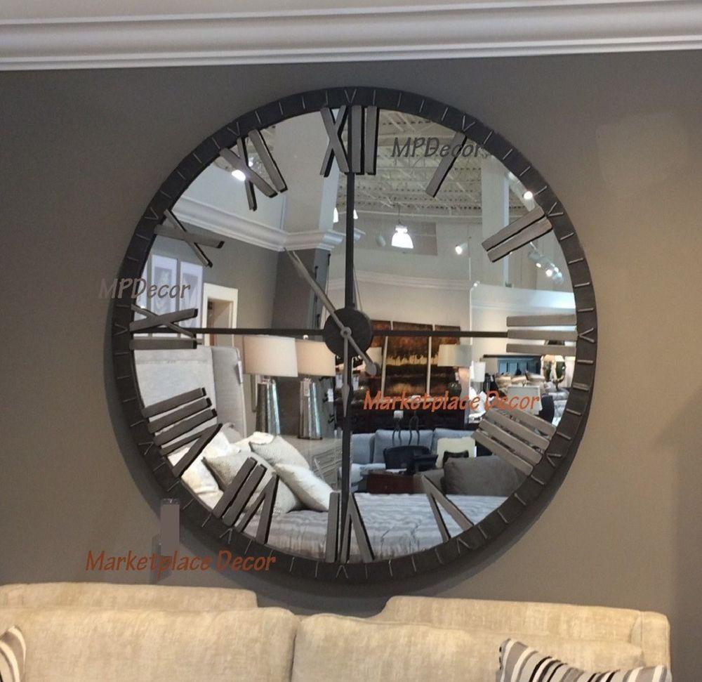 Huge 60 Urban Modern Mirror Wall Clock Round Distressed Bronze Finish Metal Xl Uttermost Moderncontemporarytransitional