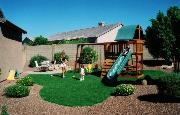 Small backyard landscaping ideas for kids with playground | Backyard ...