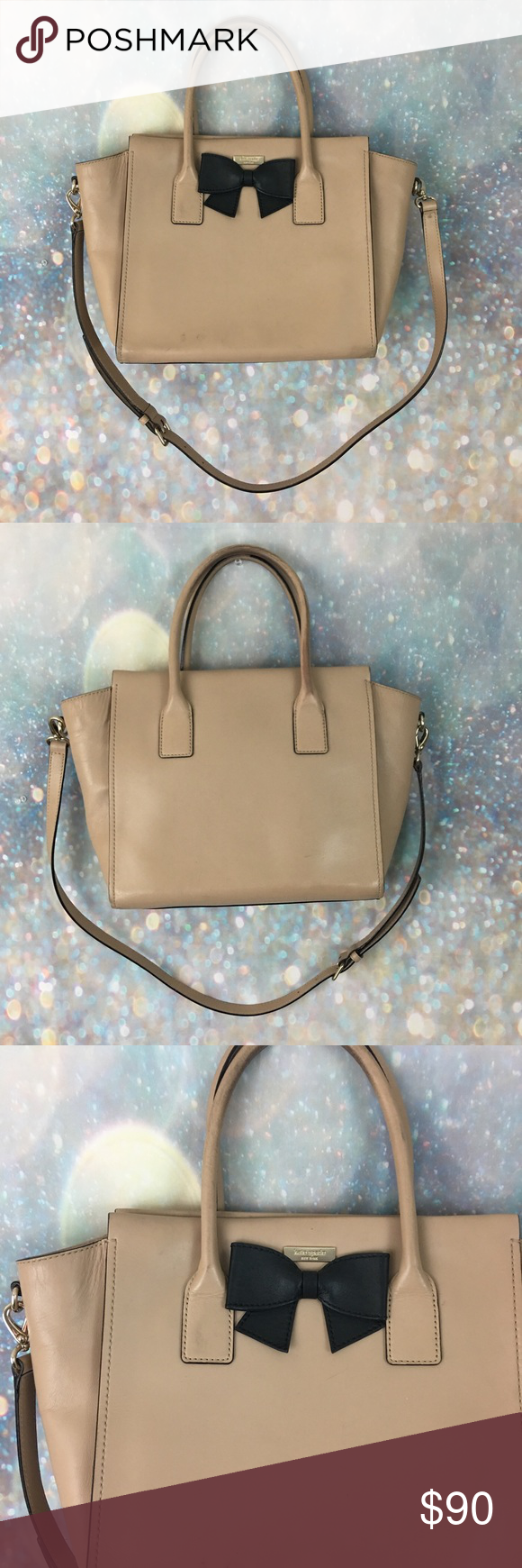 """Kate Spade tan black bow crossbody tote purse Good pre owned condition. Handles are dirty, has a couple marks on outside. About 17"""" x 12"""" kate spade Bags"""