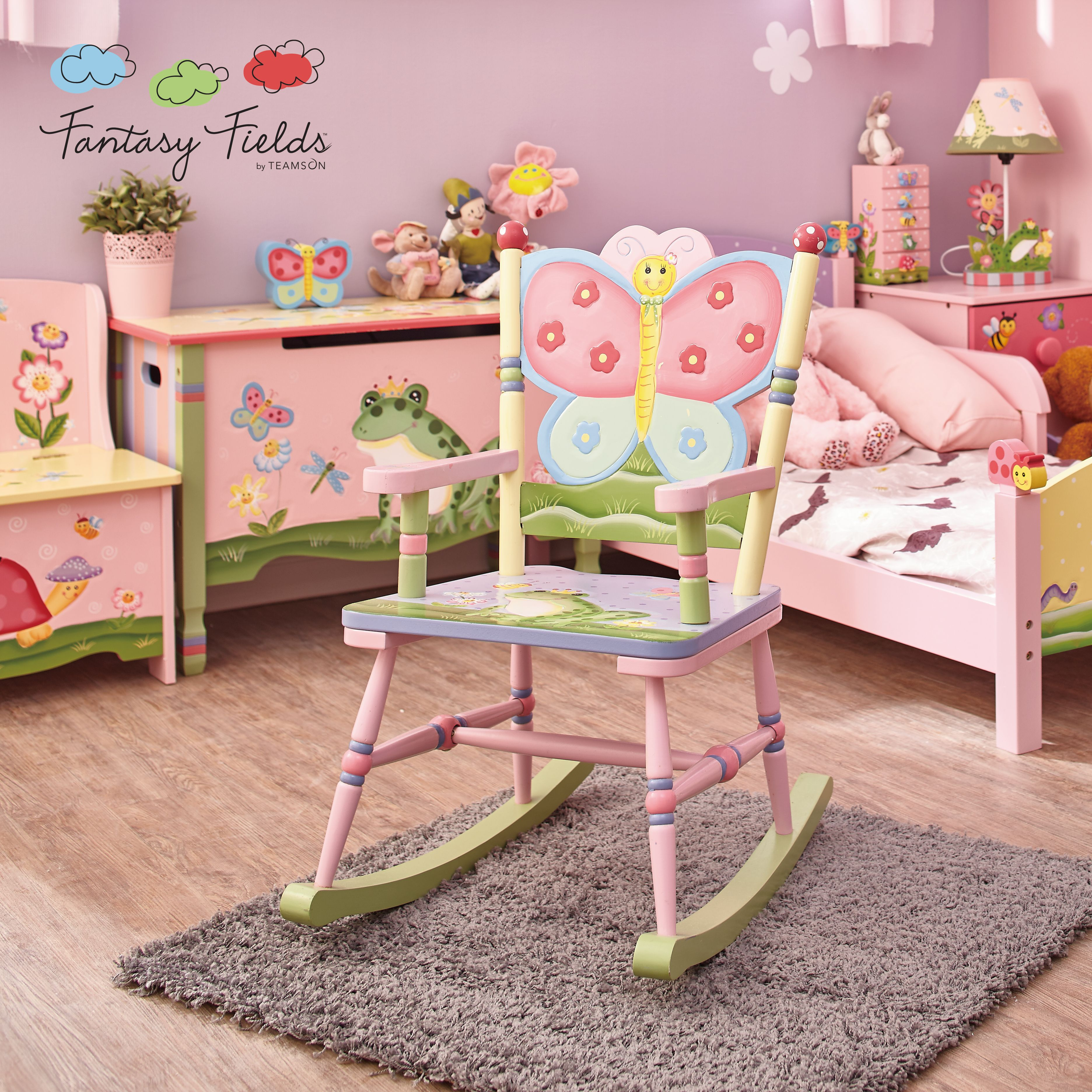 Fantasy fields magic garden rocking chair kids bedroom ideas rock yourself into imagination with fantasy fields magic garden rocking chair this rocker features a sturdy backing shaped like a colorful pink and solutioingenieria Choice Image