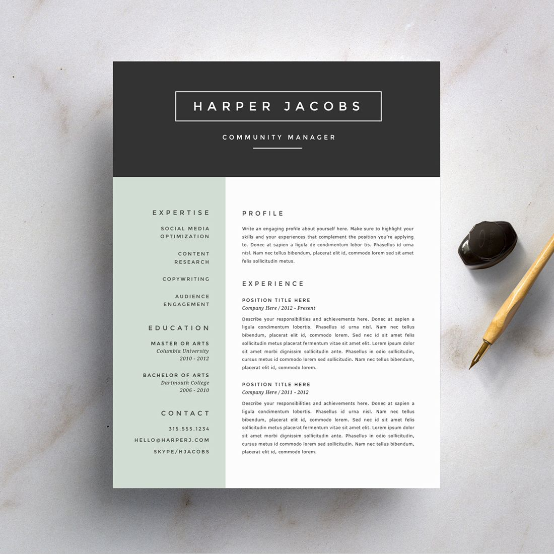 Professional Resume Template U0026 Cover Letter, Cv, Professional Modern  Creative Resume Template, MS Word For Mac + Pc, US Letter + Best CV  Professional Fonts For Resume