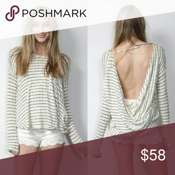 Free People striped open back sweater Open back, great condition Free People Sweaters Crew & Scoop Necks